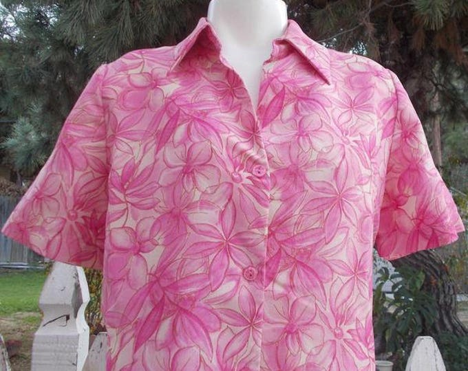 90s C'Supo Preppy Psychedelic Pink Polyester Floral Casual Womens Short Sleeve Blouse Top 32