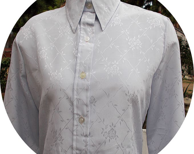 Vintage 70s Mod Elles Belles Classic Preppy Secretary Womens Gray Floral Polyester Long Sleeve Blouse Shirt Top 13/14