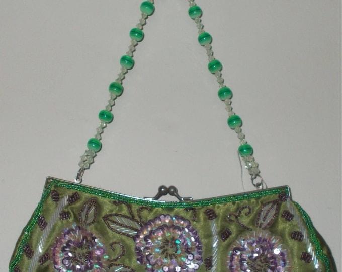 Vintage 90s Green Purple Rayon Floral Bead Sequin Embroidered Evening Handmade Clutch Bracelet Bag Handbag Purse Bead Strap