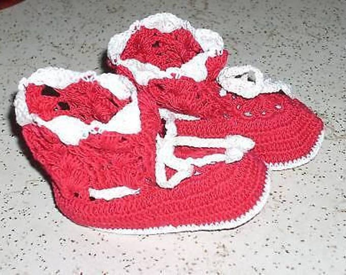 Pair Of Vintage Baby Doll Infant Handmade Red White Cotton Crochet Booties Crib Shoes Size 0