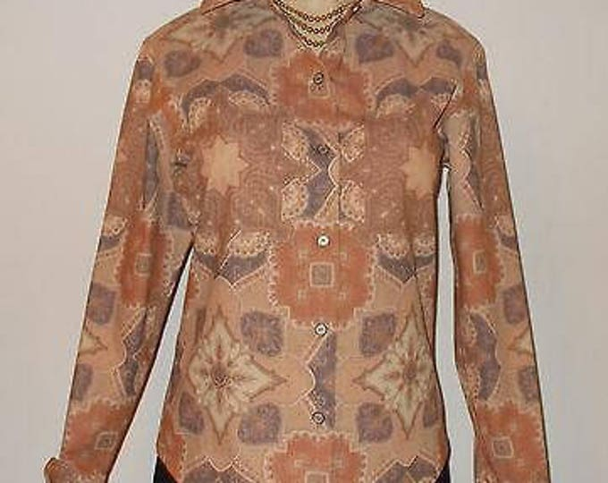 Vintage 80s Anne Klein New York Brown Cotton Blend Geometric Paisley Womens Long Sleeve Button Up Shirt Jacket Blazer