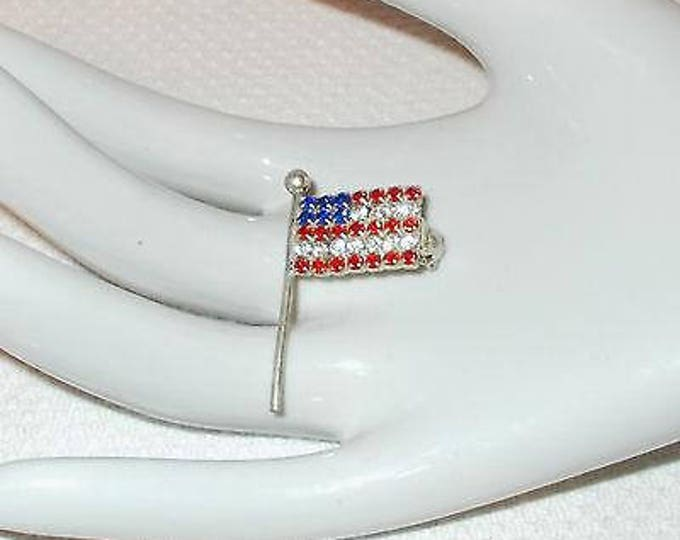 Vintage 70s Patriotic Stainless Steel Red White Blue Rhinestone U.S.A. Flag Brooch Pin