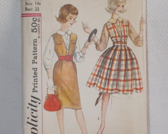 Vintage 60s Simplicity #3655 Sub-Teen Uncut Unused Pattern Rockabilly Preppy School Girl Jumper & Blouse Outfit 14s