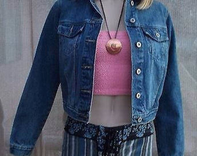 Vintage 90s Lazer Jeans Cotton Blue Jean Denim Womens Long Sleeve Short Blazer Jacket