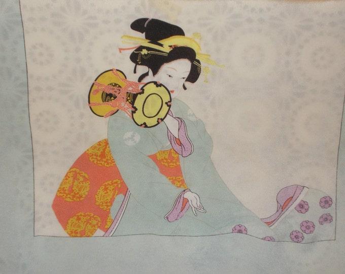 Vintage 40s 50s Geisha Girl Japanese Furoshiki Chirimen Rayon Belt Headband Neck Tie Scarf Wrap
