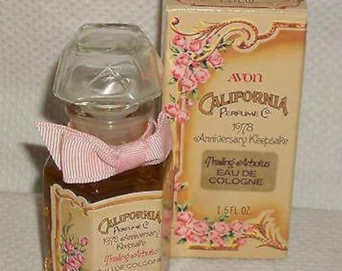 Vintage 70s 1978 Avon Perfume Bottle California Perfume Co Anniversary Keepsake Trailing Arbutus Cologne Glass Bottle 1.5 fl oz