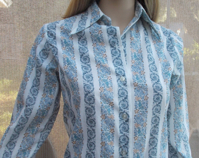 Vintage 70s Mod Beeline Fashions Preppy School Girl Blue White Cotton Striped Womens Long Sleeve Blouse Shirt Top