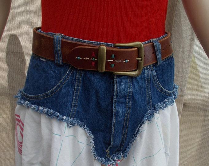 Vintage 90s Fossil Belt Country Cowgirl Cowboy Southwestern Western Mens Womens Brown Leather Belt Brass Belt Buckle