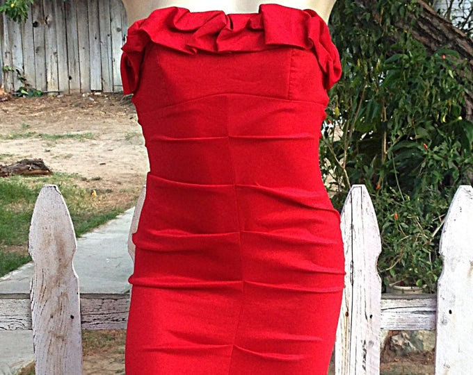 Vintage 90s Jump Apparel Special Occasion Red Polyester Strapless Sexy Cocktail Party Prom Maxi Dress 3/4