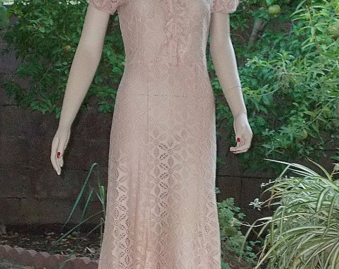Vintage 30s Art Deco Dress Great Gatsby Pink Floral Cotton Lace Handmade Womens Short Sleeve Full Length Day Dress