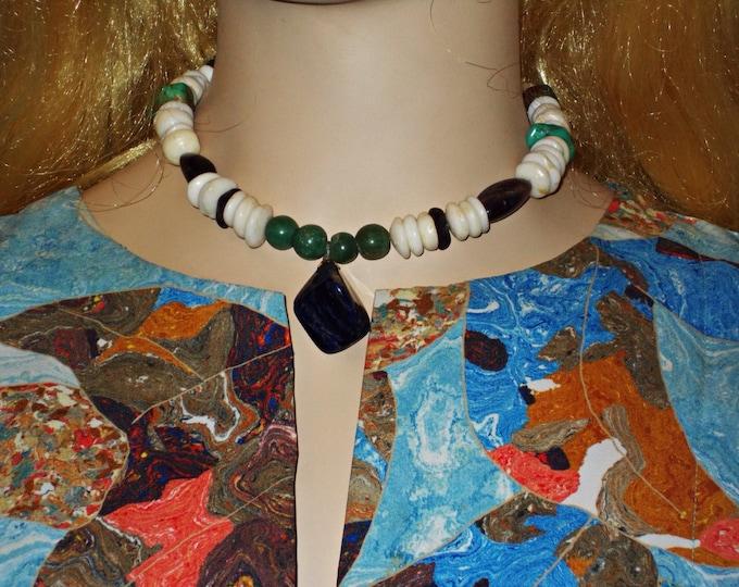 Vintage 60s Boho Hippie Chic Large Chunky Natural Puka Shell Surfer Handmade Choker Necklace Adventurine Amethyest Lapis Jasper Turquoise