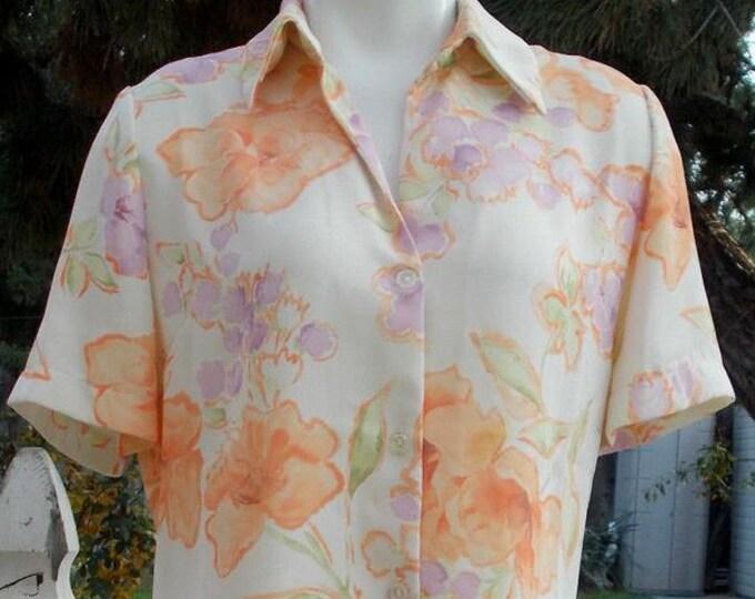 Vintage 90s C'Supo Preppy Green Orange Purple Polyester Floral Womens Short Sleeve Blouse Shirt Top