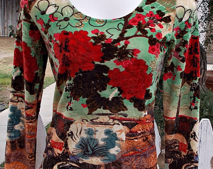 Vintage 90s Per Una Brown Green Red Psychedelic Asian Floral Flower Stretch Velour Womens Long Sleeve Pullover Top