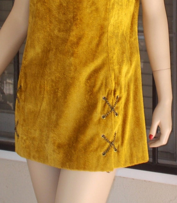 Sleeve Space Miss Chenille Vintage Suburban Mod Twiggy Go Age Dress Go Gold Short Mini Velvet Yellow Crushed 60s Womens wPxPqa