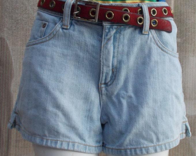 Vintage 90s High Waisted Blue Jean Arizona Jeans Distressed Boho Hippie Chic Junior Denim Shorts S
