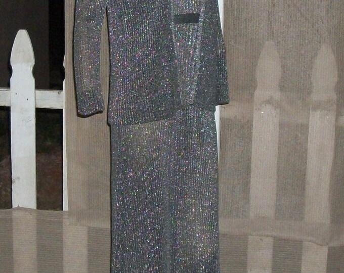 Vintage 70s Disco Mod Eve Le Cog California Evening Black Silver Metallic Knit Womens Sleeveless Maxi Dress Long Sleeve Jacket