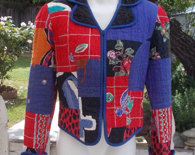 Vintage 80s Jeanne Marc Abstract Bold Black Blue Red Quilted Womens Long Sleeve Short Blazer Bolero Jacket