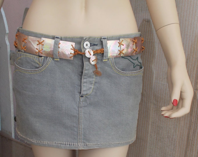 Vintage 90s Loomstate Distressed Denim Hippie Chic Embroidered Green Flying Seagull Bird Low Waist Gray Jean Mini Skirt 27