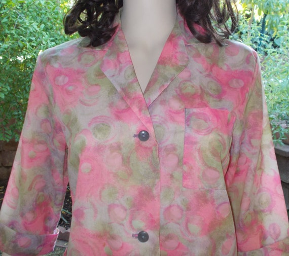 Vintage 50's Crispy Nylon Housecoat Pink Flowers F