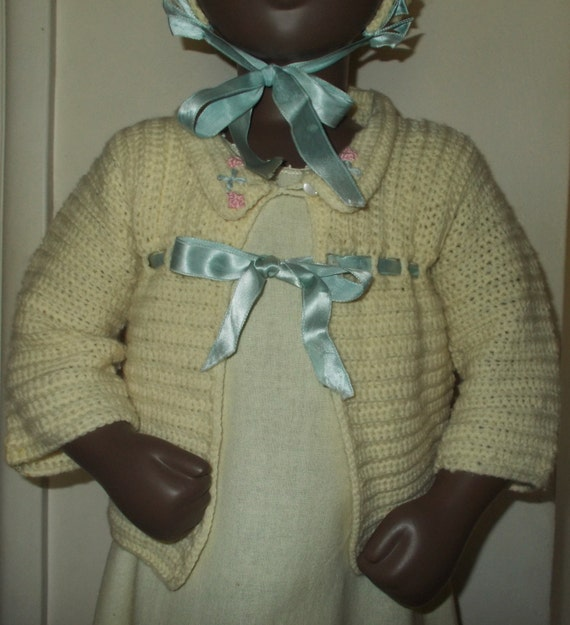 Vintage Handmade 40's 50's Beige Blue Knitted Outf