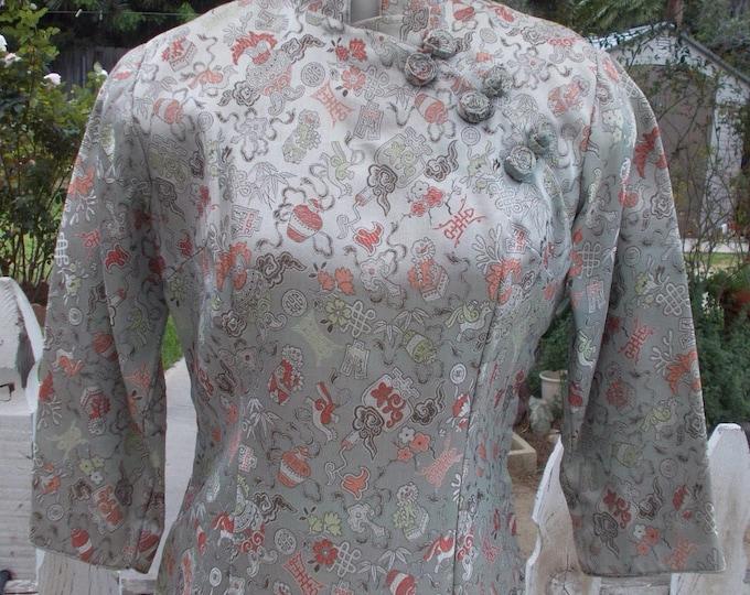 Vintage 60s Asian Chinese Cheongsam Rockabilly Silver Silk Floral Brocade Cocktail Evening Handmade Womens Knee Length Dress