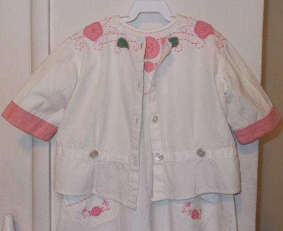 Vintage Handmade 30s Infant Playsuit Green Pink Wh