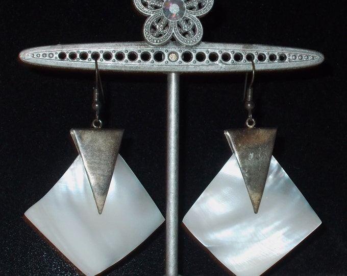 Vintage 70s Boho Chic Hippie Geometric Triangle White Pearl Shell Space Age Drop Dangle Stainless Steel Earrings