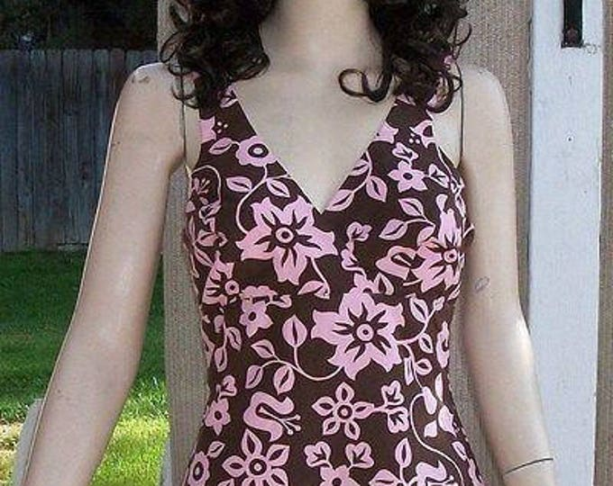 Vintage 90s Handmade Floral Leaf Brown Pink Cotton Womens Above The Knee Mini Reversible Spaghetti Strap Sundress