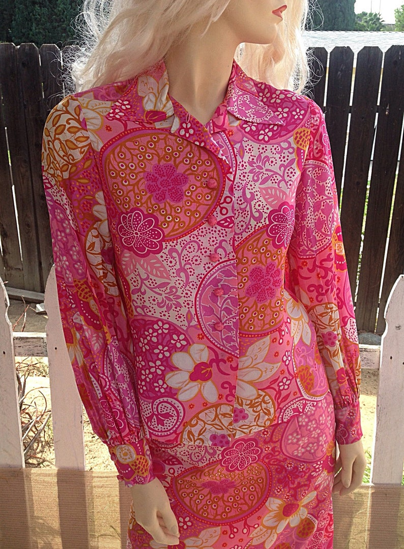 ad1d519011c91 Vintage 70's Mod Hippie Pink Orange White Floral Paisley Psychedelic  Handmade Women's Long Sleeve Blouse Skirt Coordinated Dress Set