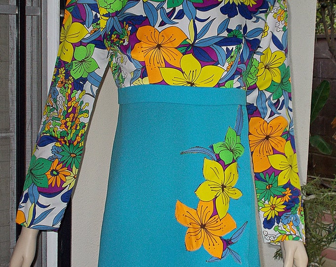 Vintage 70s Psychedelic Floral Blue Green Orange Yellow Flowers Cotton Polyester Handmade Womens Long Sleeve Full Length Maxi Dress