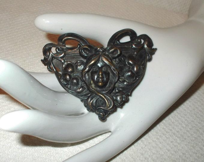 Vintage 20s Art Deco Floral Lady Handmade Womens Art Nouveau Large Silver Brass Belt Buckle