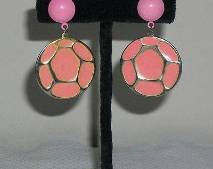 Vintage 60s 70s Atomic Space-age Pink Silver Round Geometric Drop Dangle Stainless Steel Earrings