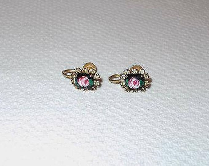 Vintage 70s Black Pink Green Flower Floral Glass Rhinestone Boho Hippie Chic Screw Back Huggie Earrings