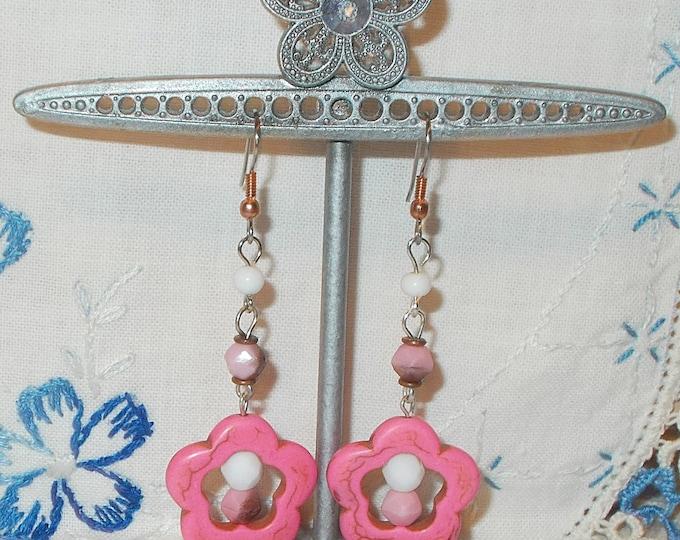 Flower Power Hippie Chic Copper Pink White Faceted Bead Pink Died Howlite Flower Gemstone Handmade Drop Dangle Earrings