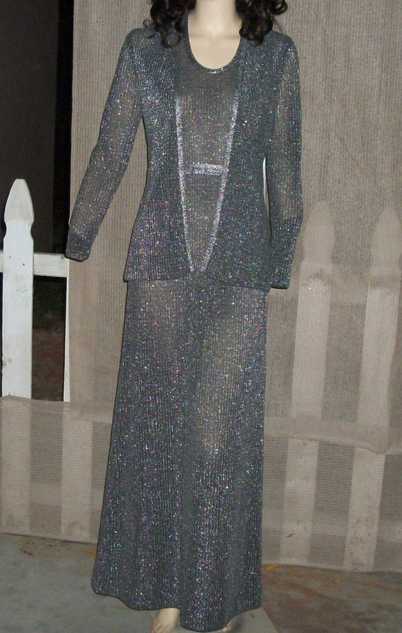 Le Cog Black Knit Vintage Long Sleeve Dress Metallic Evening Silver California Womens Maxi Sleeveless Disco Jacket Mod 70s Eve 1wFI4q