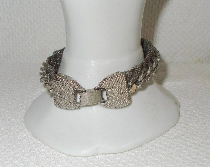 Vintage 70s Boho Hippie Chic Chunky Silver Mesh Chain Link Stainless Steel Bracelet With Bow Tie Clasp