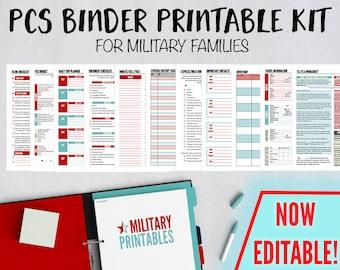PCS Binder Printable, Military Move Planning Kit, PCS Binder and Checklist, Moving Binder Organizer, Military Family Planner Organizer