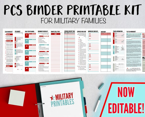 pcs binder printable military move planning kit pcs binder etsy