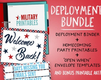 Deployment Bundle, Deployment Binder Printable, Military Wife, Deployment Countdown, Welcome Home Party, Open When Letters, Deployment Gift