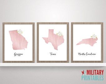 Rose Gold Art, State Printable, Girly Wall Art, State Art, Printable Map, Rose Gold Foil Art, Wall Art, Rose Gold Print, State Print