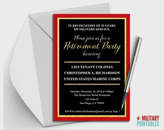 Marine Corps Retirement Party Invitation Printable, Editable Invitation, Retirement Party, Military Retirement Marine Corps Retirement, USMC