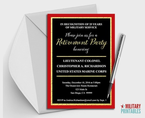 Marine Corps Retirement Party Invitation Printable Editable Etsy