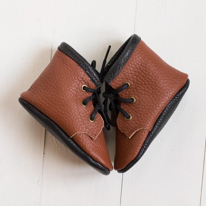 f6ea52c078d9d Brown moccasins with black sole Baby boy soft shoes Infant | Etsy
