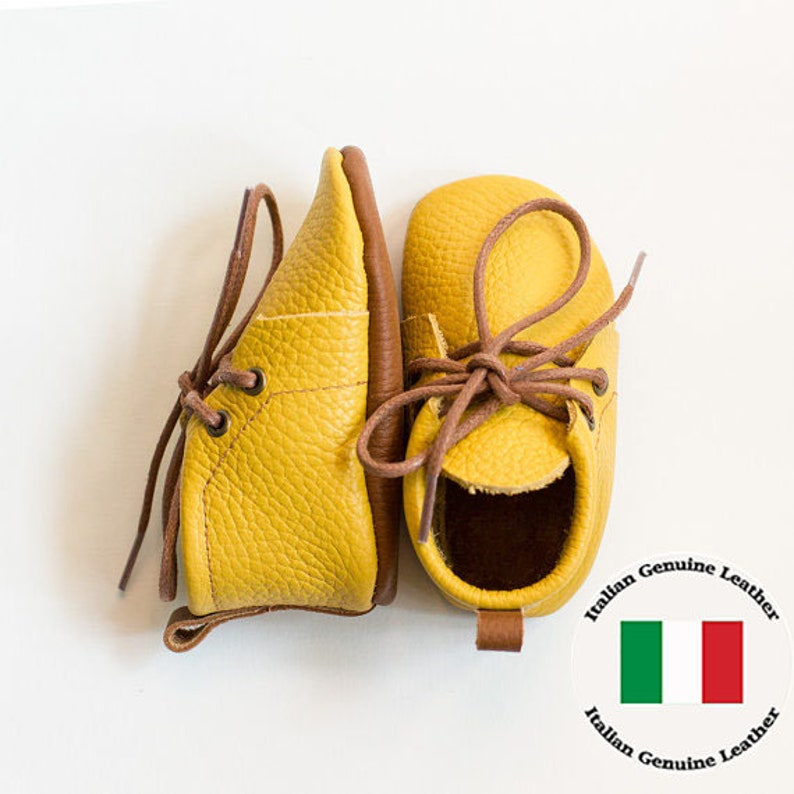 91901d25a93 Italian leather. Baby yellow leather booties with brown sole