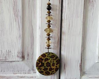 Re-Styled Green Leopard Doorknob Hanger