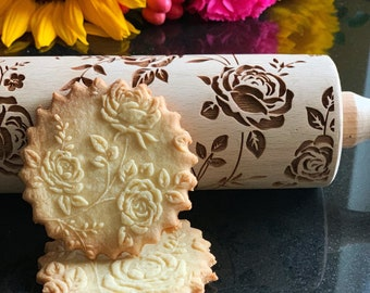 WILD ROSES rolling pin, embossing rolling pin, engraved rolling pin by laser, nature, leaves, floral pattern, flowers, roses