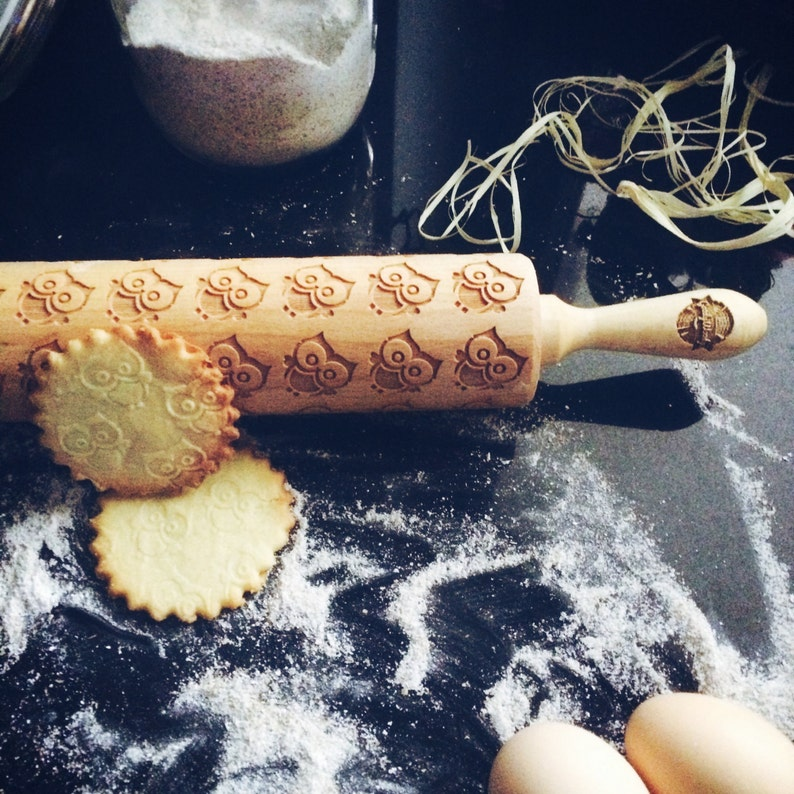 embossing rolling pin engraved rolling pin by laser BABY OWL rolling pin