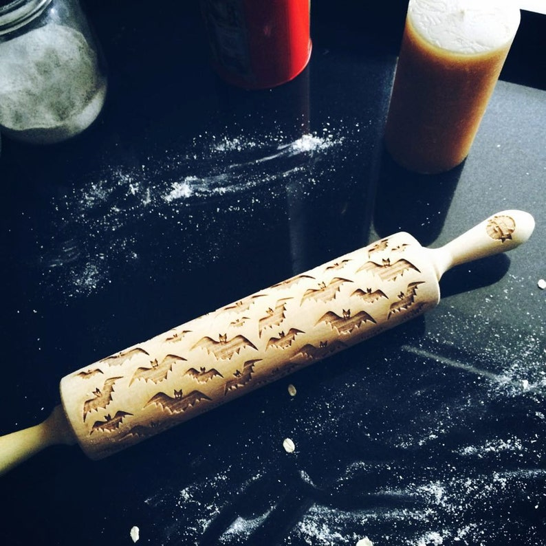 hallowen design Halloween decor BAT rolling pin engraved rolling pin by laser embossing rolling pin halloween decoration