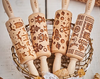 SET of 4 small ROLLING PINS with pattern of your choice, free worldwide shipping with fedex