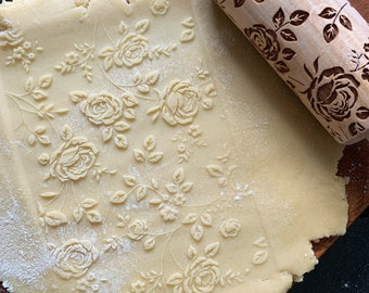WILD ROSES  SMALL rolling pin, embossing rolling pin, engraved rolling pin by laser, nature, floral pattern, flowers, roses